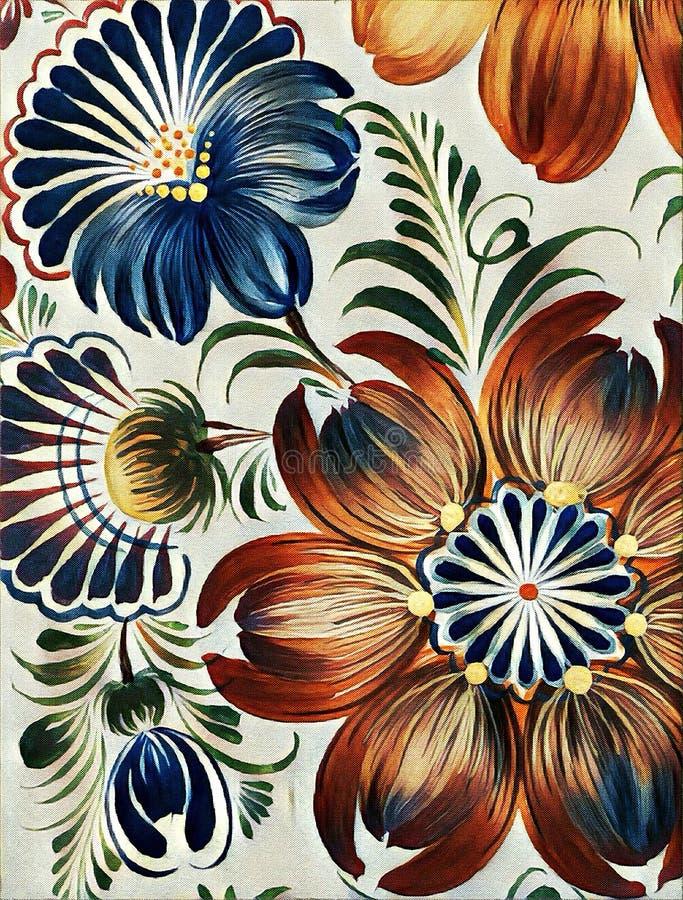 Petrikovka-` s Malerei stilisierte prizma Filter Bunte Malereiblume mit Blättern Traditionelle ukrainische Malerei vektor abbildung