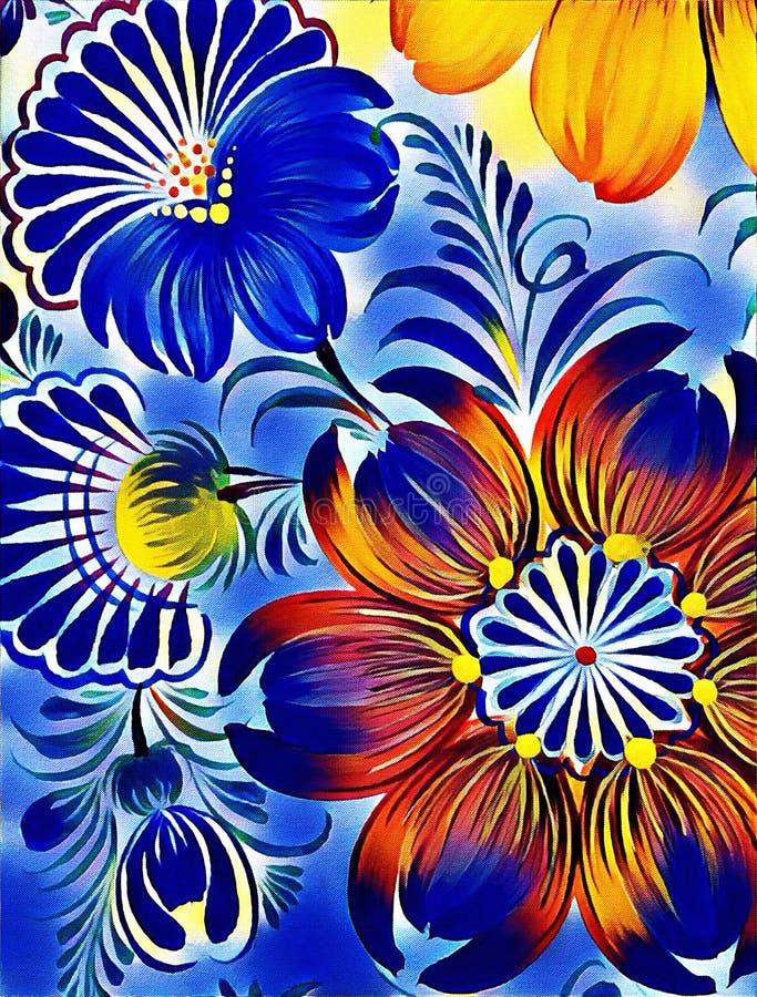 Petrikovka ` s obraz Kolorowy obrazu kwiat z liśćmi Tradycyjny Ukraiński obraz royalty ilustracja