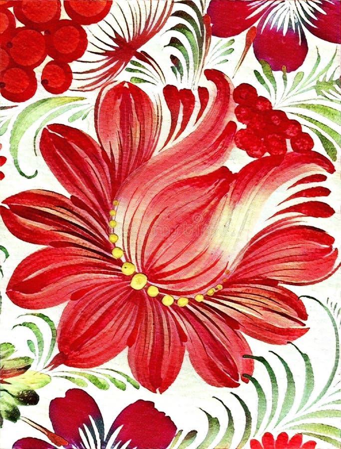 Petrikovka ` s obraz Kolorowy obrazu kwiat z liśćmi Tradycyjny Ukraiński obraz ilustracja wektor