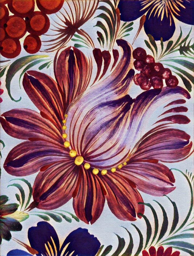 Petrikovka ` s obraz Kolorowy obrazu kwiat z liśćmi Tradycyjny Ukraiński obraz ilustracji