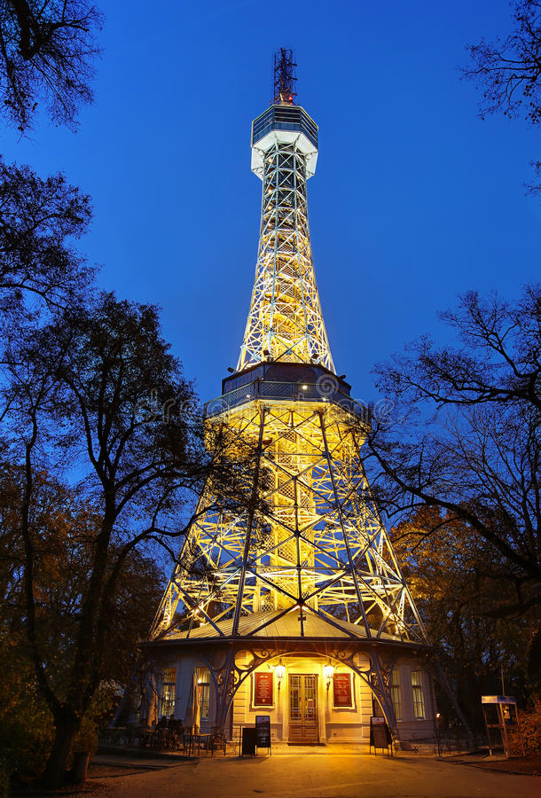 Petrin Lookout Tower (built 1891), Prague, Czech Republic stock images