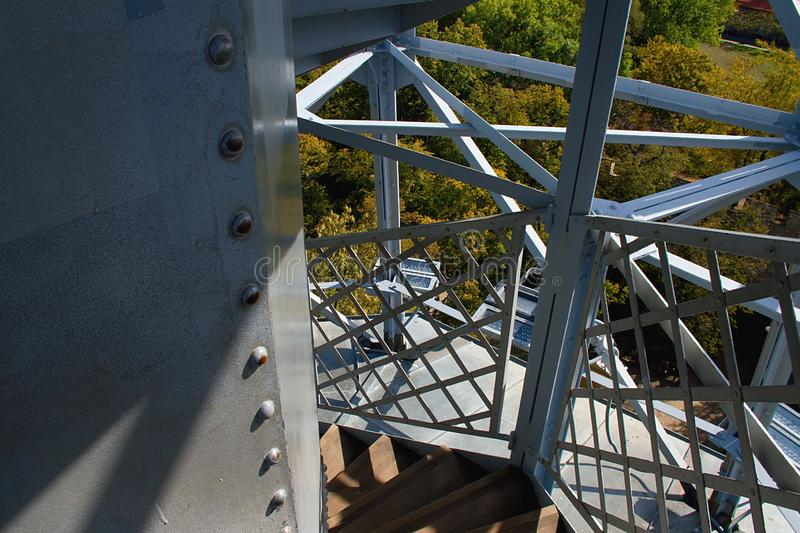 The Petrin Lookout Tower - detail. The Petrin Lookout Tower is a 63.5 metre tall steel-framework tower on Petrin Hill in Prague built in 1891 stock photography