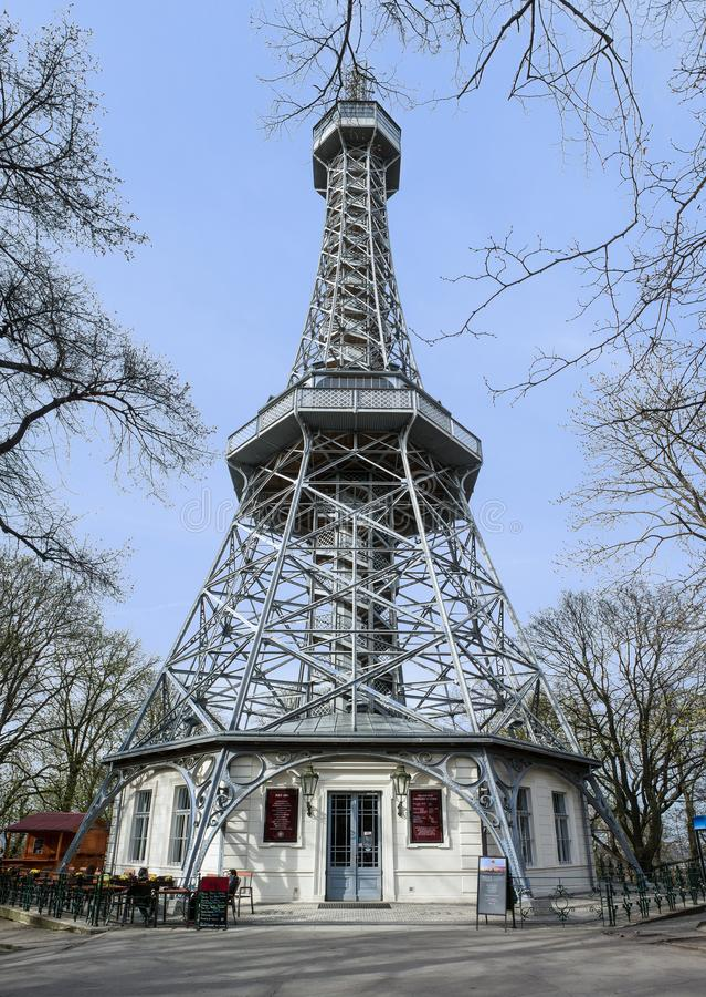 Petrin tower in prague stock photos