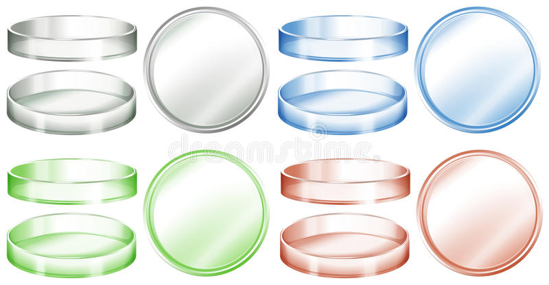 Petrischalen in den verschiedenen Farben lizenzfreie abbildung