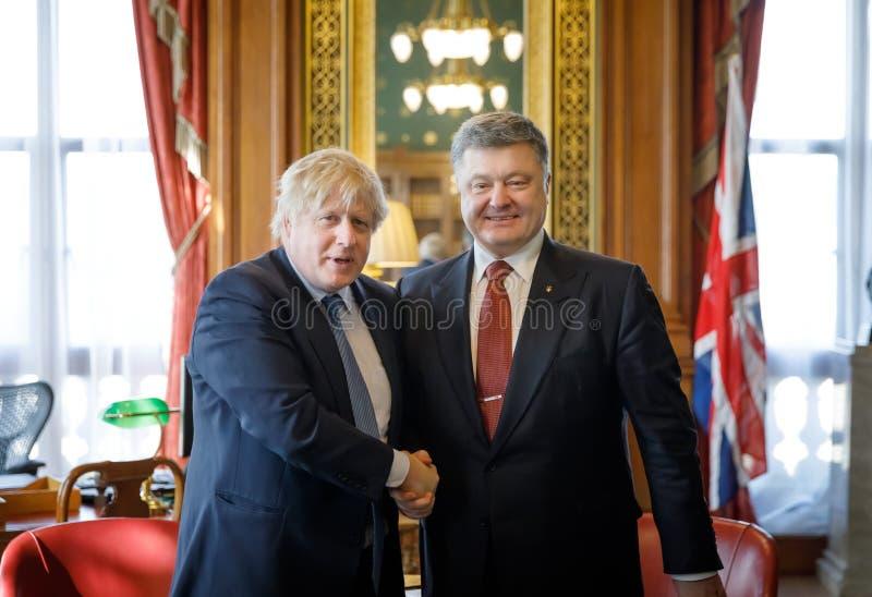 Petro波罗申科和鲍里斯・约翰逊 免版税图库摄影