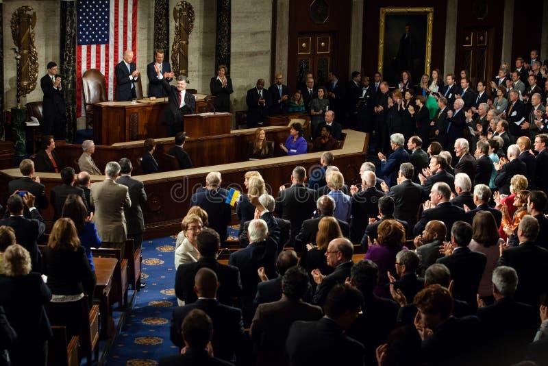 Petro Poroshenko à la session commune des Etats-Unis Congr images libres de droits