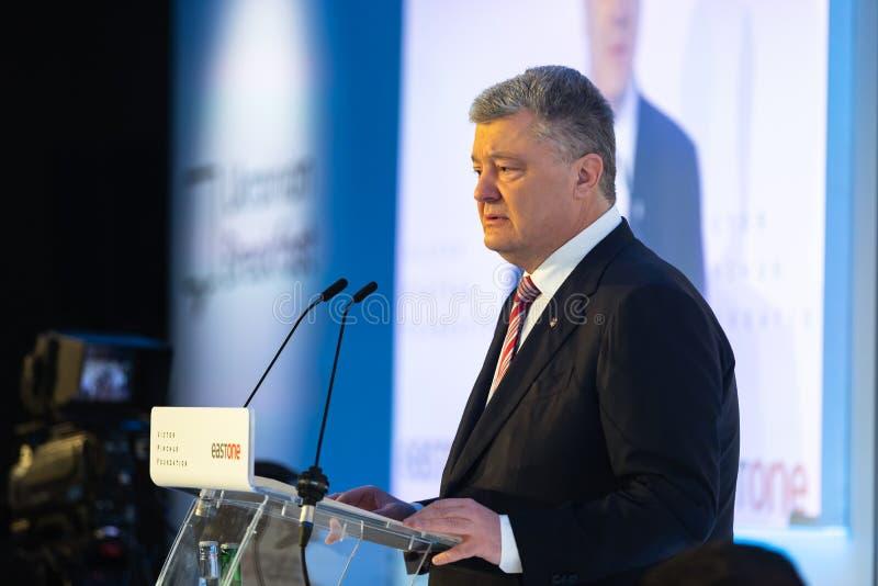 Petro Poroshenko au forum économique mondial dans Davos images libres de droits