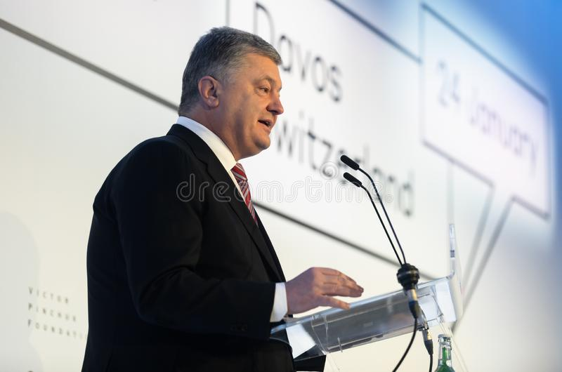 Petro Poroshenko au forum économique mondial dans Davos photo stock