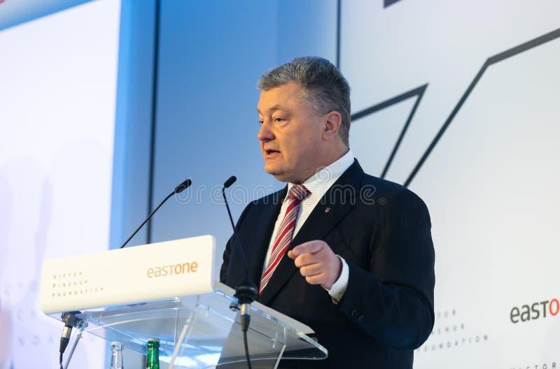 Petro Poroshenko au forum économique mondial dans Davos image stock