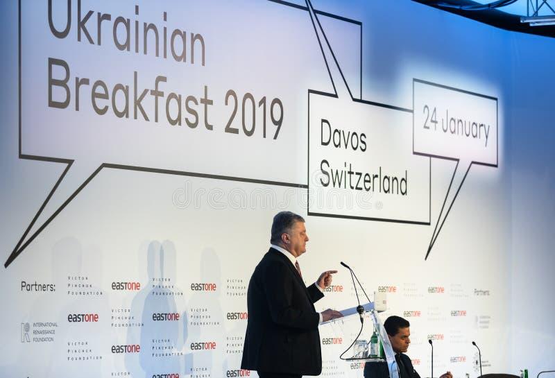 Petro Poroshenko au forum économique mondial dans Davos photographie stock