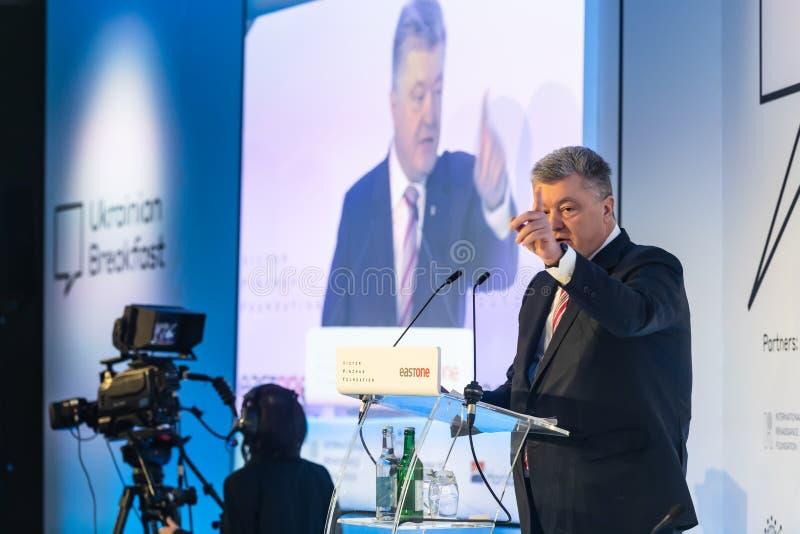 Petro Poroshenko au forum économique mondial dans Davos photos libres de droits
