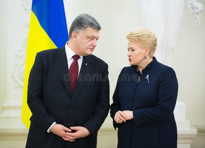 Petro Poroshenko en Dalia Grybauskaite royalty-vrije stock fotografie