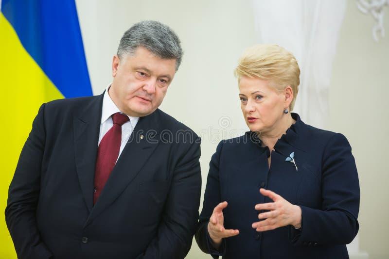 Petro Poroshenko en Dalia Grybauskaite royalty-vrije stock afbeelding