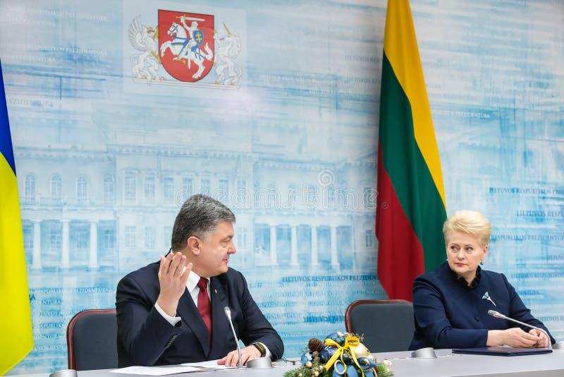 Petro Poroshenko en Dalia Grybauskaite royalty-vrije stock afbeeldingen