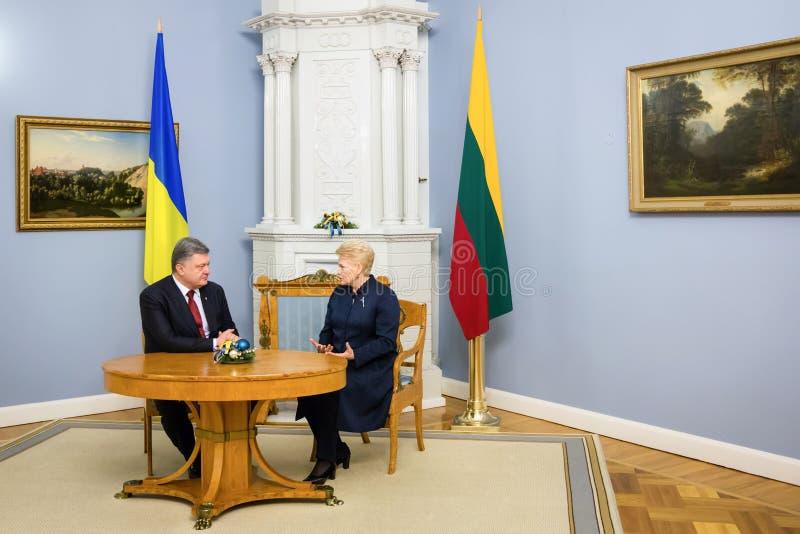 Petro Poroshenko en Dalia Grybauskaite stock fotografie