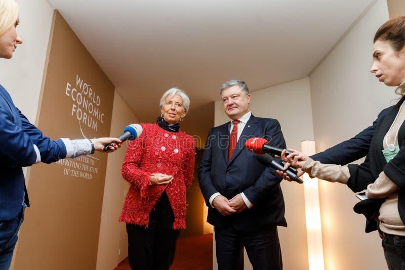 Petro Poroshenko et Christine Lagarde photo libre de droits