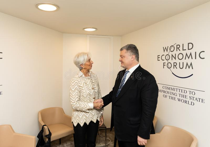 Petro Poroshenko et Christine Lagarde image libre de droits