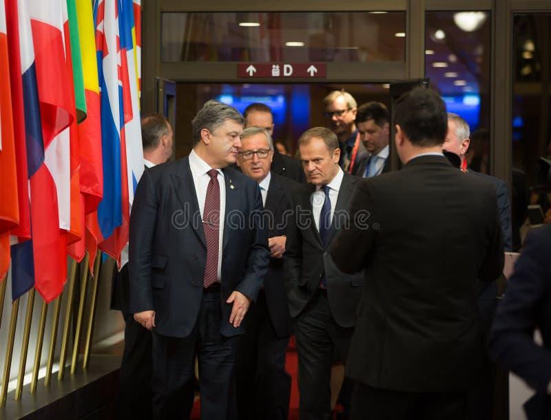 Petro Poroshenko, Jean-Claude Juncker y Donald Tusk imagen de archivo