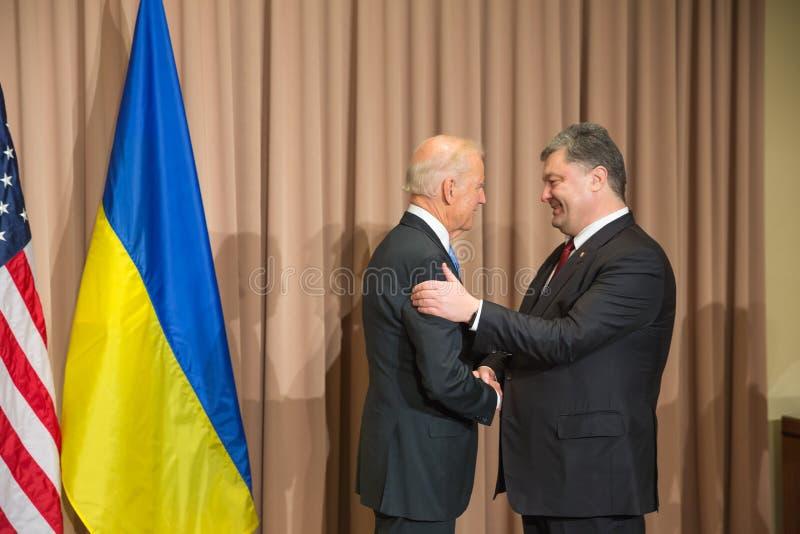 Petro Poroshenko and Joseph Biden stock photo