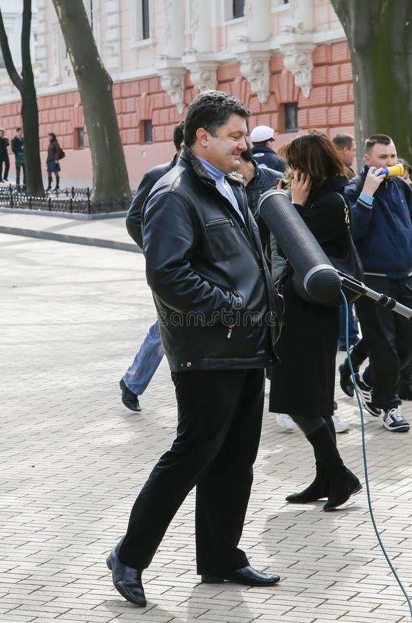 Petro Poroshenko przy festiwalu humorem w Odessa Kwiecień 1, 2009, zdjęcie royalty free