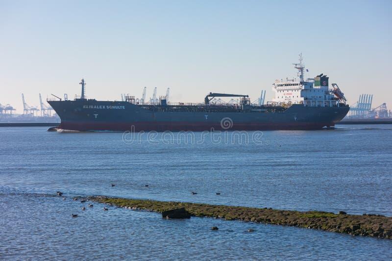 Petro substancji chemicznej gazu tankowa naczynia żeglowanie za Hoek samochodem dostawczym Holandia i Maasvlakte schronieniem w k obraz royalty free