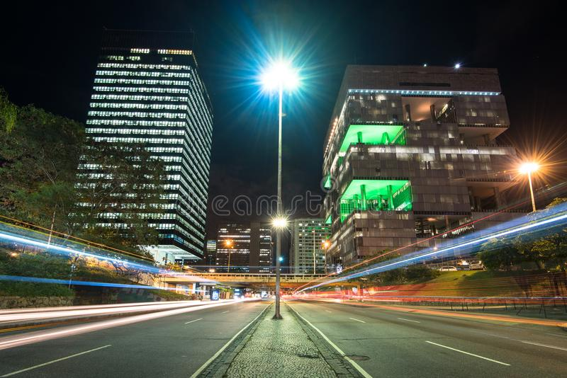 Petrobras Building in Downtown Rio de Janeiro at Night royalty free stock photos