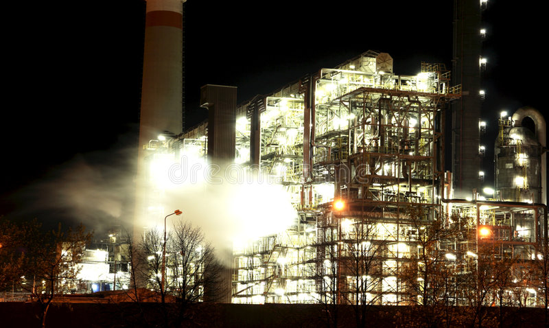 Petrochemical factory at night