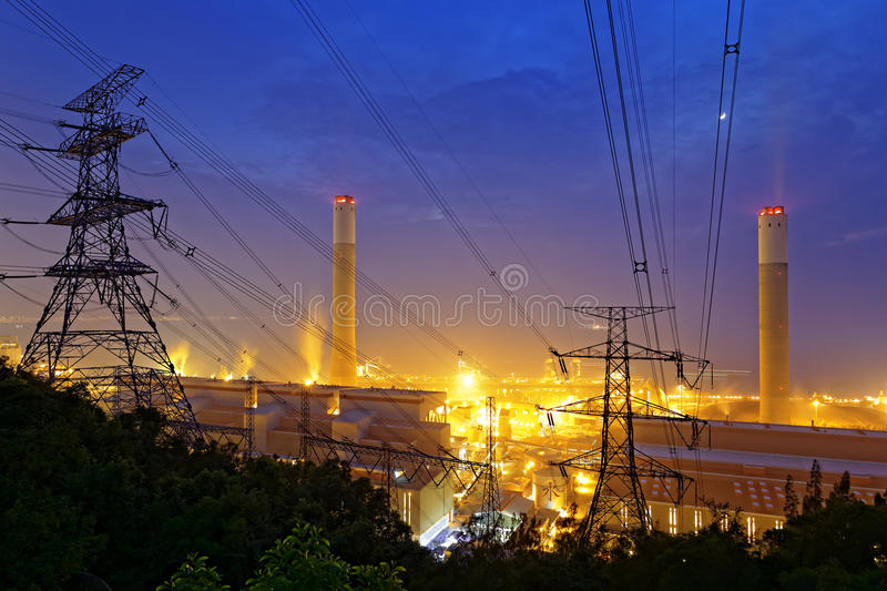 Petrochemical industrial power plant factory. At night royalty free stock photos
