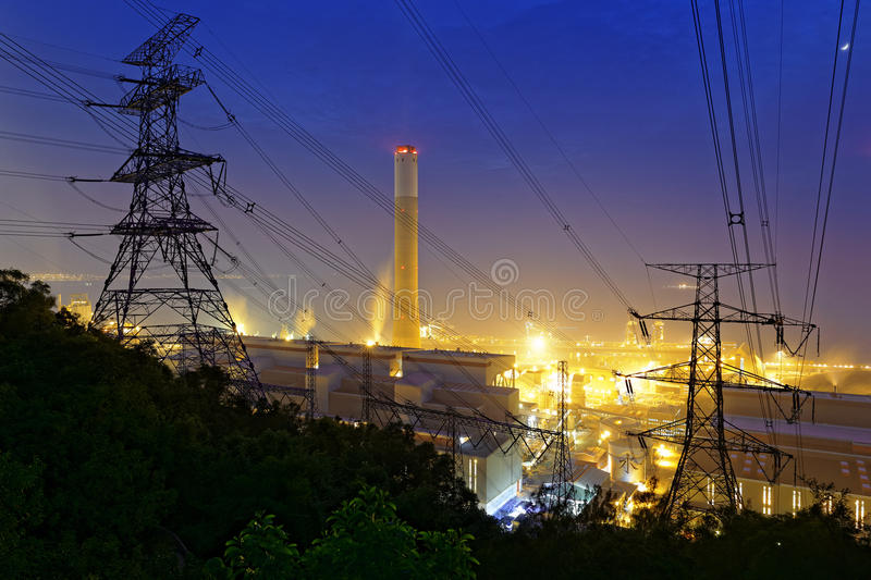 Petrochemical industrial power plant factory. At night stock photos