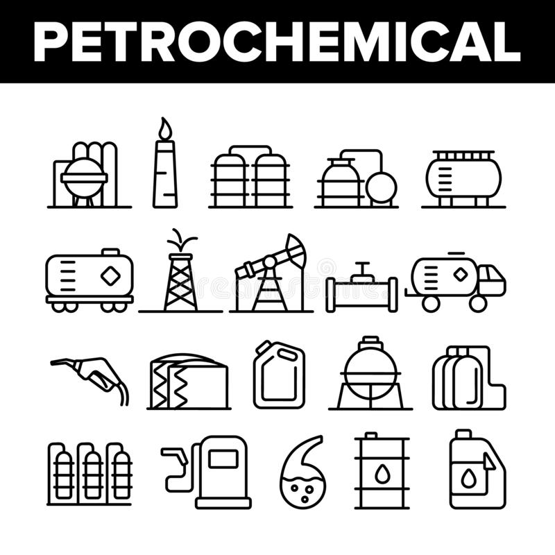 Petrochemical Industry Vector Thin Line Icons Set vector illustration