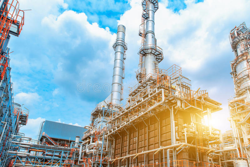 Petrochemical oil refinery, Refinery oil and gas industry, The equipment of oil refining, Close-up of Pipelines and petrochemical stock image