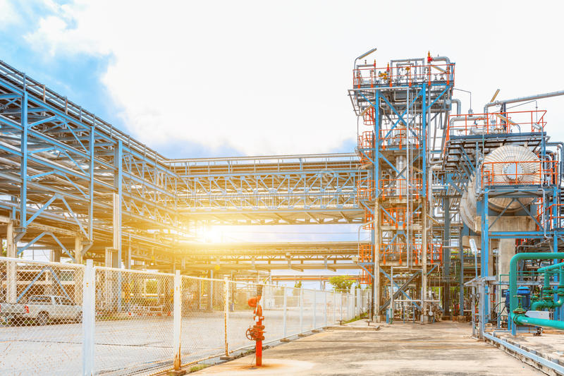 Petrochemical oil refinery, Refinery oil and gas industry, The equipment of oil refining, Close-up of Pipelines and petrochemical royalty free stock images