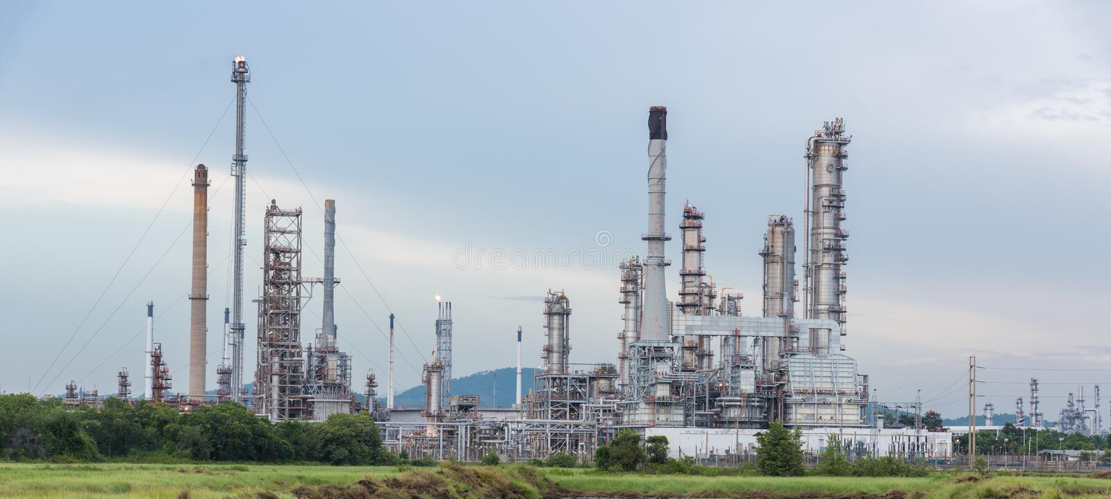 Petrochemical, Petroleum, oil refinery. Plant at day time royalty free stock image