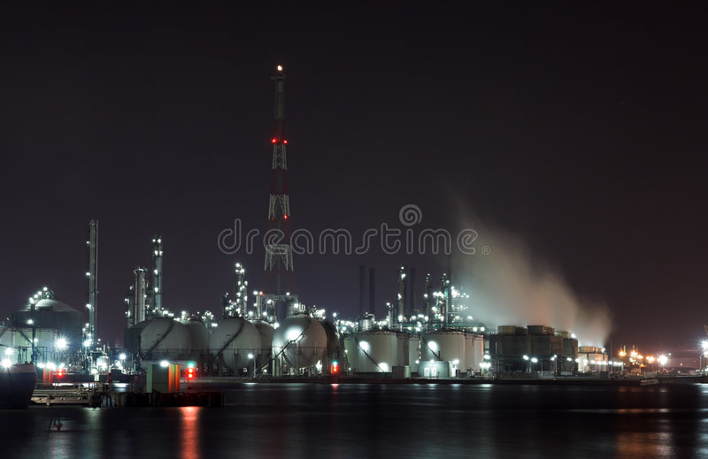 Download Petrochemical Plant In The Night Stock Image - Image: 1091533