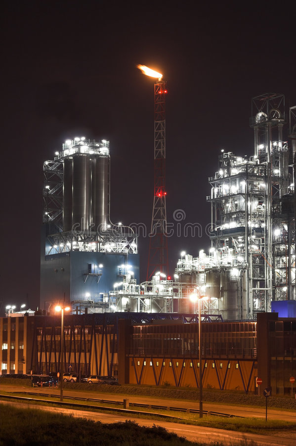 Download Petrochemical Plant In The Night Stock Photo - Image: 1123634