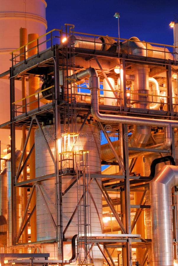 Petrochemical Plant at Night stock photos