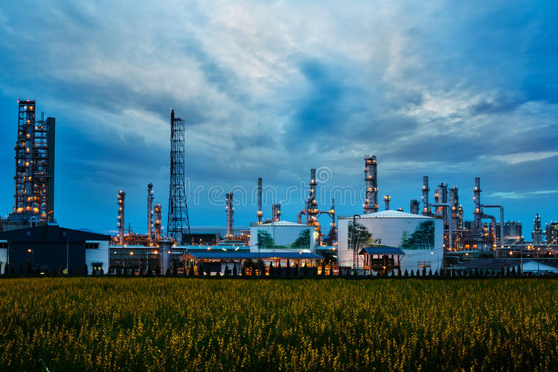 Petrochemical plant ( oil refinery ) industry. With blue sky royalty free stock photo