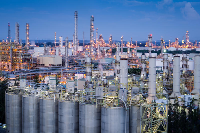 Petrochemical plant at Twilight. Petrochemical plant, oil refinery factory with Twilight stock photo