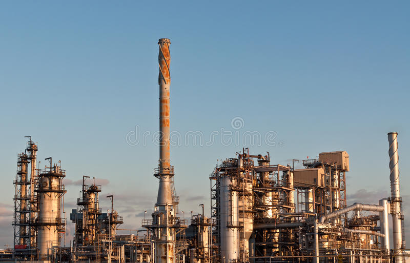 Petrochemical Refinery In The Evening Stock Photography