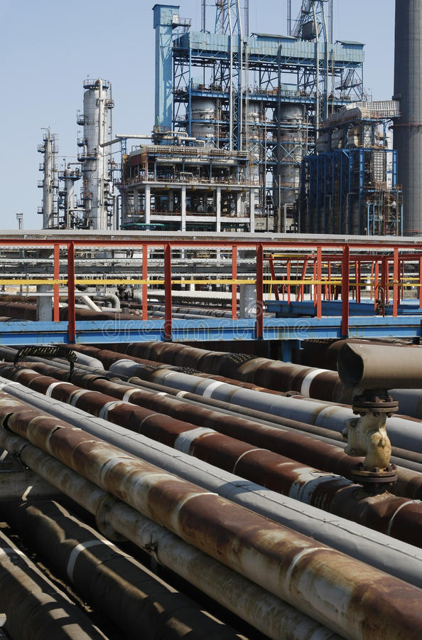 Petrochemical refinery pipes stock image
