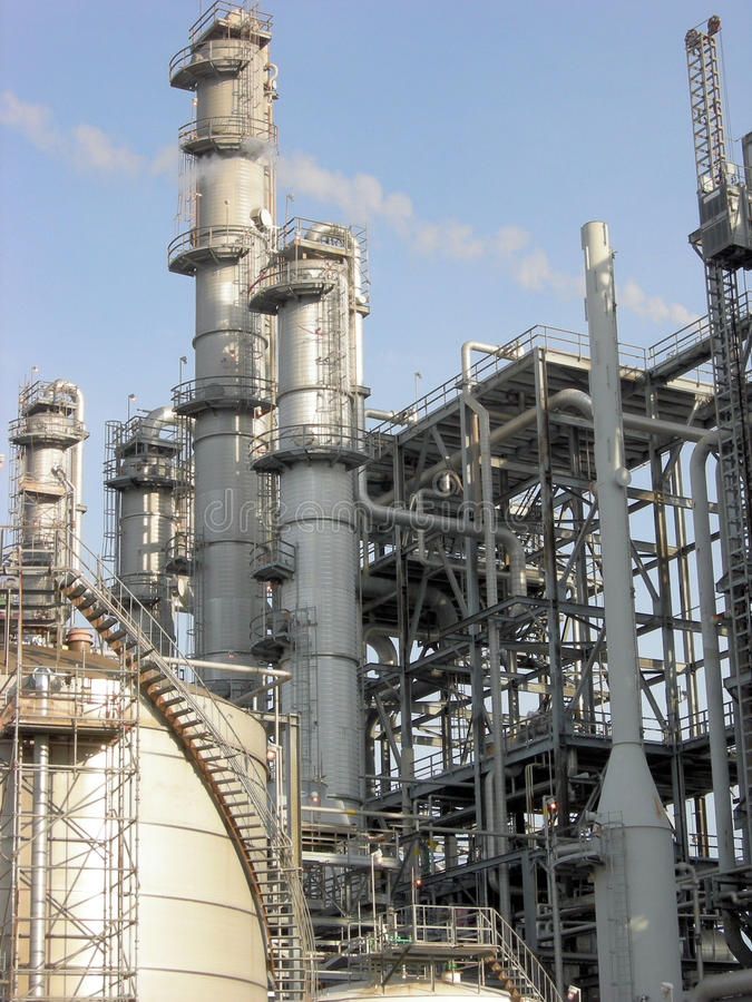 petrochemicalväxt arkivfoton
