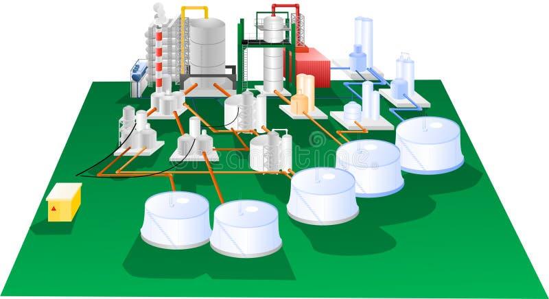 Petrochemiczny ilustracyjny operacja diagram ilustracja wektor