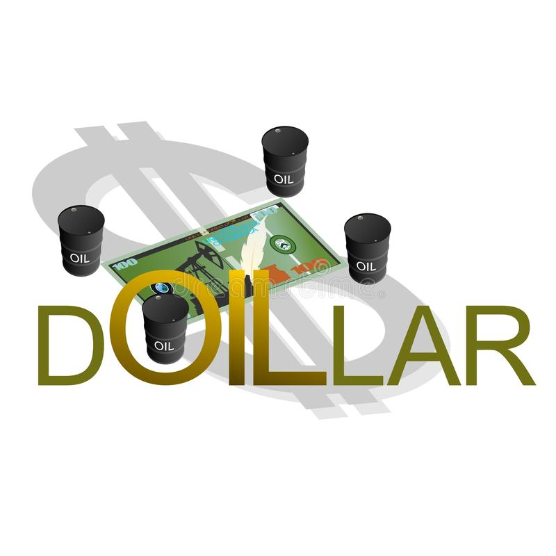 Petrodollar. Abstract Dollar surrounded by barrels of oil. Illustration on white background vector illustration