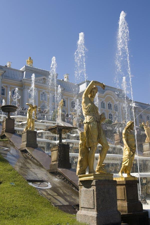 petrodvorets fontann obrazy royalty free