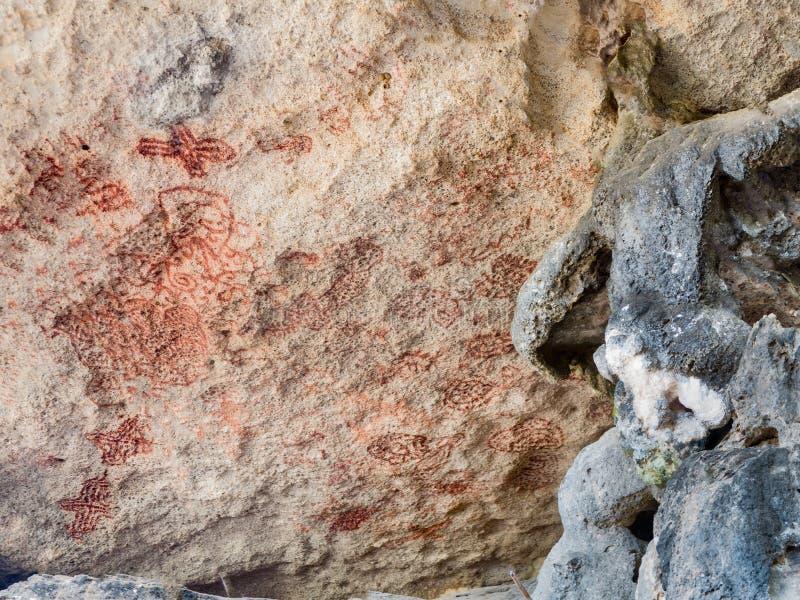 Petroglif w Bonaire, holandie Antilles Bok Onima obraz royalty free