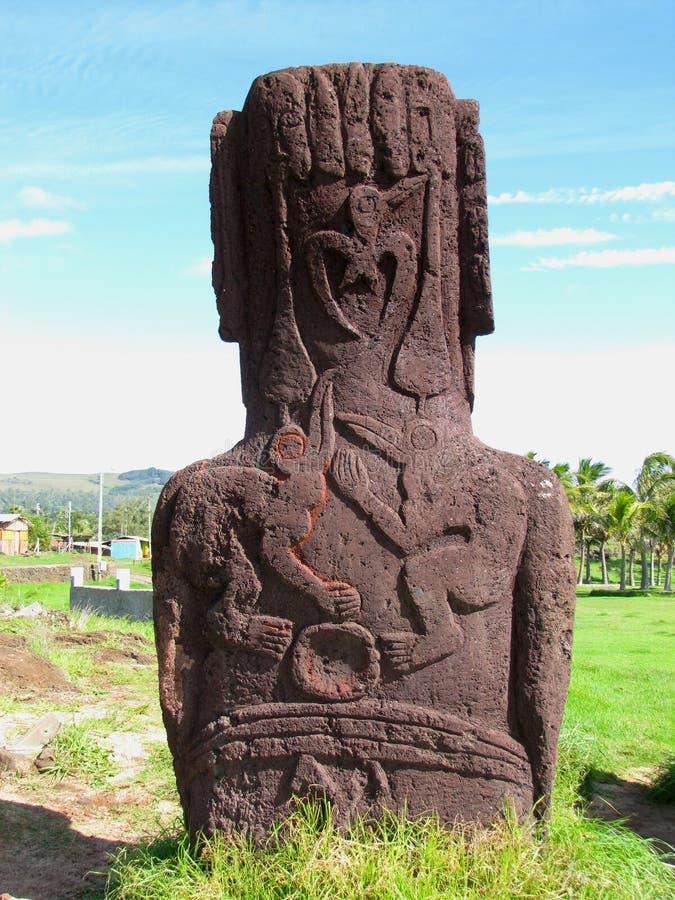 Petroglifi di Rapa Nui Moai Birdman dell'isola di pasqua immagini stock
