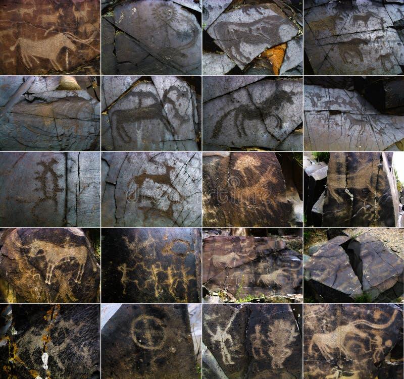 Petroglifi sulla pietra in Tambaly o Tas di Tamgaly immagini stock libere da diritti