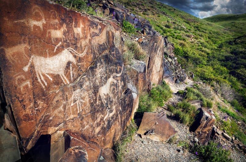 Petroglifo con los animales en la puesta del sol imágenes de archivo libres de regalías