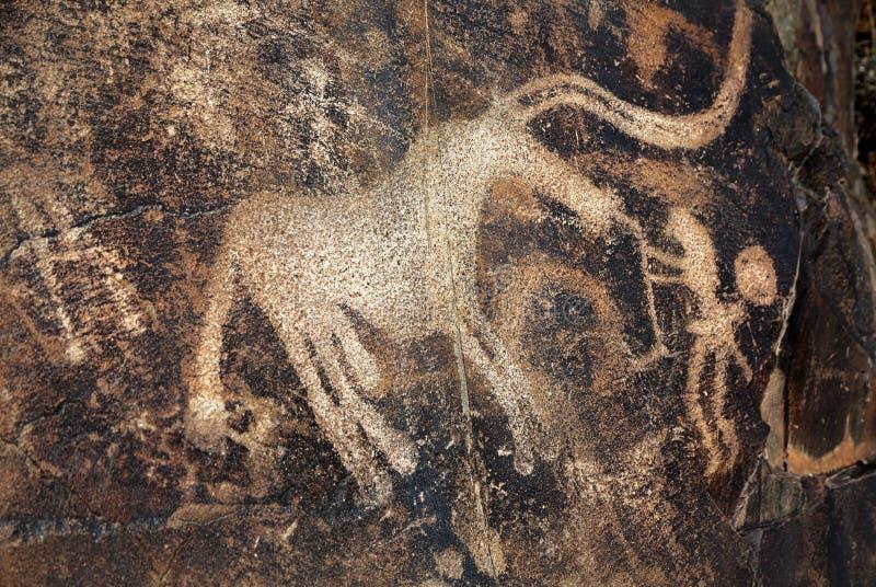 Petroglifo con los animales en la roca fotografía de archivo libre de regalías