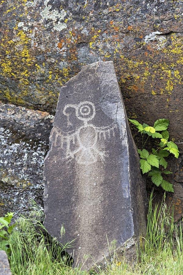 Petroglifo indigeno di Thunderbird dell'indiano fotografia stock